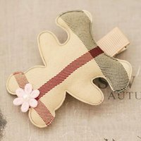 Wholesale 6pcs Lovely Plaid Bear With Tiny Flower Hair Clips Checked Bear Hairpins For Baby Girls Hair Accessories For Kids