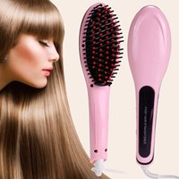 Wholesale Factory Price Cheap New Beautiful Star White Pink Straightening Irons Come With LED Display Electric Straight Hair Comb Brush US EU Plug