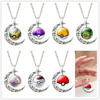 Wholesale 2016 New Game Pokémon Poke Halder Necklace Vintage Retro Time Gemstone Moon Poke Ball Pendant Necklace Jewelry Gifts for Women Girl M007