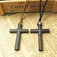 Wholesale Inlaid copper wooden cross pendant necklace vintage leather cord sweater chain men women jewelry handmade stylish Christian Jesus