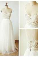 Cheap A-line Wedding Dress - Ivory Floor-length V-neck Tulle babyonline gown free shipping
