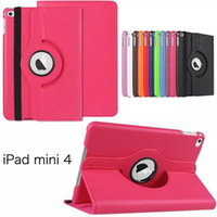 Wholesale NEW Rotating Folio Stand Leather Litchi Stria Smart Protection Cover For Apple iPad mini4 ipad ipad air