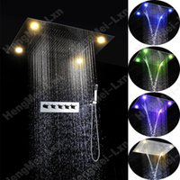 best shower curtains - Best selling bath shower set mm rainfall waterfall water curtain embeded ceiling mounted led shower mixer set