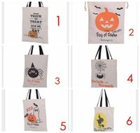 Wholesale 2016 Factory Sale Halloween Large Canvas bags cotton Drawstring Bag With Pumpkin devil spider Halloween Xmas Gifts Sack Bags style
