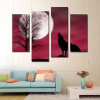 background pictures animals - 4 Pieces Wolf Painting Wolf in the Moonlight Picture Red Background Print Canvas Animal For Home Modern Decor With Wooden Framed