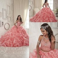 balls art - 2017 Pink Two Pieces Quinceanera Dresses Keyhole Neckline Beaded Masquerad Sweet Ball Gowns Tiered Ruffles Crystal Debutante Dress