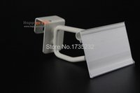 Wholesale 100 Width cm white transparent clear hook hanger label holder wire shelf price talker ticket sign PVC clip tag holder