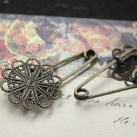 antique filigree brooch - DIY Jewelry settings ANTIQUE BRONZE mm Filigree Flower shaped Pad Brooch Blank Base with safety pin Findings