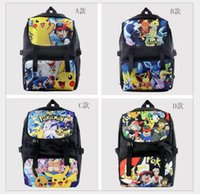 Wholesale 2016 New Poke School Bag Cartoon Pikachu backpack Thicken High Quality Nylon School Travel Kids Laptop Bag Christmas Gift Colors