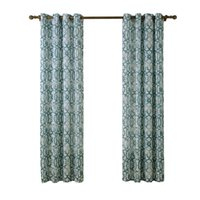 Wholesale C21208 Printed Green Striped Window Curtains for Living Room Europe Style Voile Curtain Piece