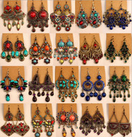 assorted girls fashion - girl lady vintage fashion earrings dangles exaggerate boho chandelier fish hook ethnic ear jewelry assorted styles