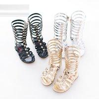 Wholesale Crochet Kids Shoe Patterns - 2016 Children Roma Gladiator Sandals Kids Girl Summer Shoe High Led Boots Sandals Sliver Gold Black shoes Size 26-35 choose Sizes C621