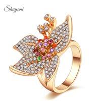 big colorful flower rings - SHUYANI Jewelry Austrian Crystal SWA Element Big Colorful Flower Ring Fashion Jewelry For Women