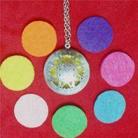 antique garnet necklace - Hot Vintage Round Sunflower Antique Silver Necklace Aromatherapy Lockets Pendants Necklace Women Filigre Essential Oil Diffuser Necklace