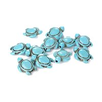 Wholesale Approx A Strand Turquoise White Howlite Carved Turtle Spacer Beads For DIY Jewelry Making Bracelet Necklace