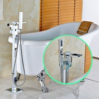 bathtub faucet with handheld shower - Chrome Floor Mounted Bathtub Faucet Single Handle Mixer Tap with Handheld Shower