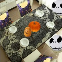 Wholesale Grisly Bloody Spider Web for Halloween Decoration Black Polyester Halloween Tablecloth Tablecover Festive Party Supplies