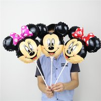 Wholesale 20pcs Mickey Mouse Balloons Foil Balloon with stick Minnie Party Decoration Children Inflatable Toys