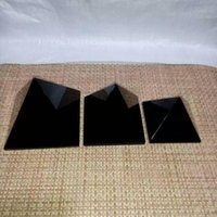 Wholesale 40 mm Natural obsidian nunatak crystal pyramid decoration apotropaic
