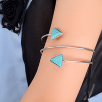 arm open - Bohemian Ethnic Upper Arm Bracelet For Women Vintage Triangle Turquoise Boho Open Bangle Armlet Arm Cuff