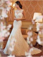 Wholesale 2016 new arrival applique lace dress elegant wedding dress trailing lace skirt plus churches shoulders drain back zipper bridal