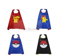 batman cape - Kids Poke Ball Superhero Capes Pikachu Batman Spiderman Cape Superman Flash Avengers Hulk Thor Cape Poke Cosplay Halloween Costumes B655