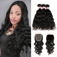 Wholesale Brazilian Water Wave With Closure Bundle Unprocessed Virgin Hair With Closure Wet And Wavy Virgin Brazilian Hair With Closure