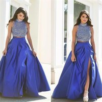 Wholesale 2016 New Royal Blue Two Piece Prom Dresses High Beads A Line Satin Floor Length Party Dress Floor Length Evening Party Gowns