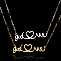 arrival zirconia - New Arrival Stainless Steel Choker Necklace Jewelry God Love Me Heart Pendant Silver Chain Gold Necklace Gothic Chokers