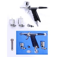 Wholesale Dual Action Airbrush Kit mm Needle Air Brush Spray Paint for Car Bicycle tattoos Aerograph makeup body paint SP166TH03