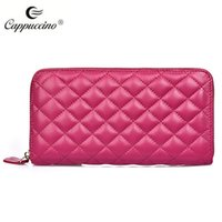 Wholesale High Quality Plaid Sheep Skin Genuine Leather Women Wallet