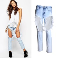 Wholesale Newest Super Ripped Jeans For Woman Raw Edge Hole Blue Denim Jeans Loose Washed Denim Trousers Streetwear BSF0337
