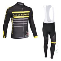 livestrong - livestrong team Autumn or winter fleece long sleeve jersey Cycling Suits Cycling Kit cycling jersey Bike Suit Road Cycling bib pants