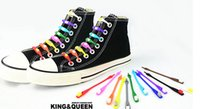 Wholesale New creative lazy shoe laces colorful silicone shoelaces no tie V tie shoe laces normal and glow in dark style adults and children