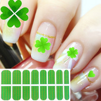 Wholesale Green Lucky Clover Design Nail Vinyls Sticker Full Cover Beauty DIY Cute Nail Decals Manicures Tips Sheet