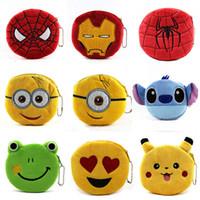 bears england - 48 Types Coin Purses Superheroes Spiderman Iron Man Baymax Minions Pig Bird Bear MU Mike Doraemon Emoji Plush Money Bag Wallet Pendant Gift