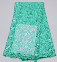 Wholesale Nigerian top quality african embroidery cord lace beautiful Polyestes guipure lace fabric for party dress AMY150B