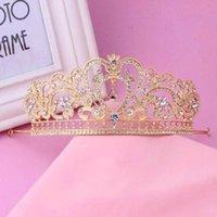Wholesale Korean Princess Bride Wedding Wedding Tiara Crown high grade pearl diamond crystal crown hair accessories Water Pearl Flower Wedding Gold Cr