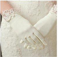 Cheap The bride Lace Gloves short autumn Korean Wedding Gloves thin white stretch satin dress short gloves