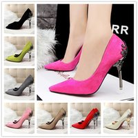 Wholesale 2016 New Sexy High Heels Suede Leather Ladies Wedding Shoes Pumps Flower cm Heel Stiletto Women Shoes colors