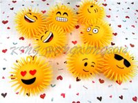 Wholesale LED light ball children light toys inch long haired printed with a smiling face and fluffy TPR ball