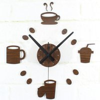 Wholesale wooden d DIY black Acrylic mirror Stickers Modern Home Decoration tableware mugs hanging Wall Clocks bar restaurant