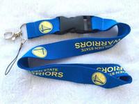 Multicolor, basketball keychains - Fashion Basketball Warriors Logo Sport Neck Lanyard Mp3 Camera ID Badge Mobile Neck Strap Blue