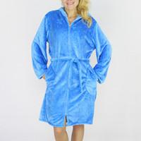 bath spa s - New Autumn Winter Zipper Bath Robe Female Coral Fleece Colors Night Gown Spa Bathrobe Pajamas Long Sleeve Womens Nightwear