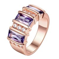 amethyst diamond band - New Rose gold plated Purple Amethyst Jewelry AAA Zircon cz Diamond Engagement Bijoux Wedding Rings Party Jewelry Anniversary Christmas Gifts