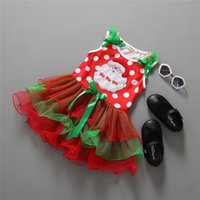 Wholesale Sleeveless christmas dress children costumes baby girls Christmas tree Bow Polka dot tutu cake dress kids red short sleeve party dress