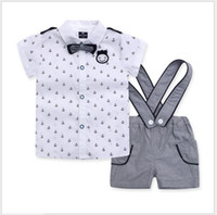 baby boy suspender shorts - 3 Set Baby Boys Navy Style Clothing Sets Children Short Sleeve Anchor Shirt Suspender Shorts Bowtie Kids Suits Boy Outfits