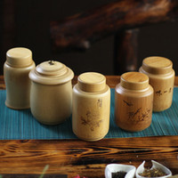bamboo tea canister - Sealed cans tea jars for Storage container bamboo kitchen canisters with lid kitchen Storage bottles Candy Cereals Coffee box
