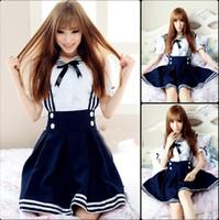 Wholesale MaxDream Color Blue Black Sweet Girl Maid Sailor Lolita Dress Japanese School Uniform Cosplay Costume DM1087