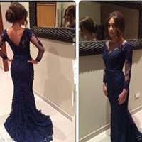 Wholesale Fancy Newly Designed Sexy Navy Blue V Neck Mermaid Lace Evening Dress Prom Gown Party Formal Dress